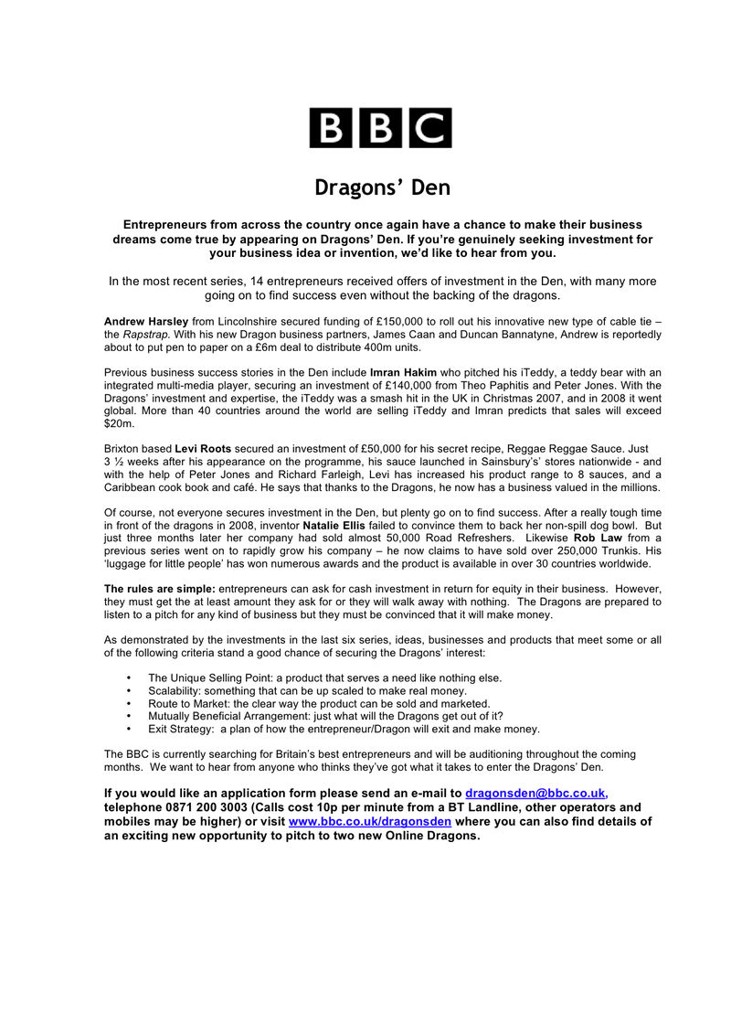 BBC Dragons' Den 2009 Press Release (5)