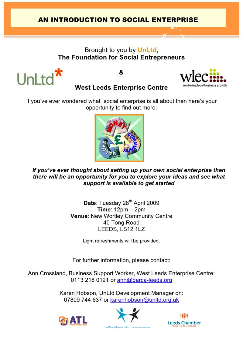 West Leeds Social Enterprise Event Flyer